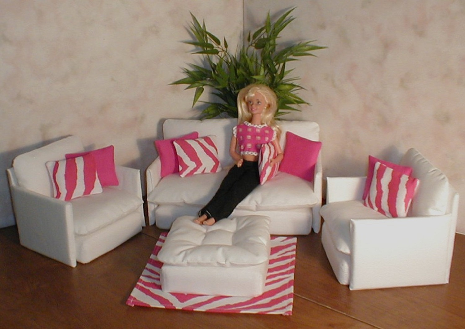 Barbie Doll Furniture White Living Room Set W Hot Pink Zebra Etsy pertaining to 10 Smart Ways How to Build Pink Living Room Set
