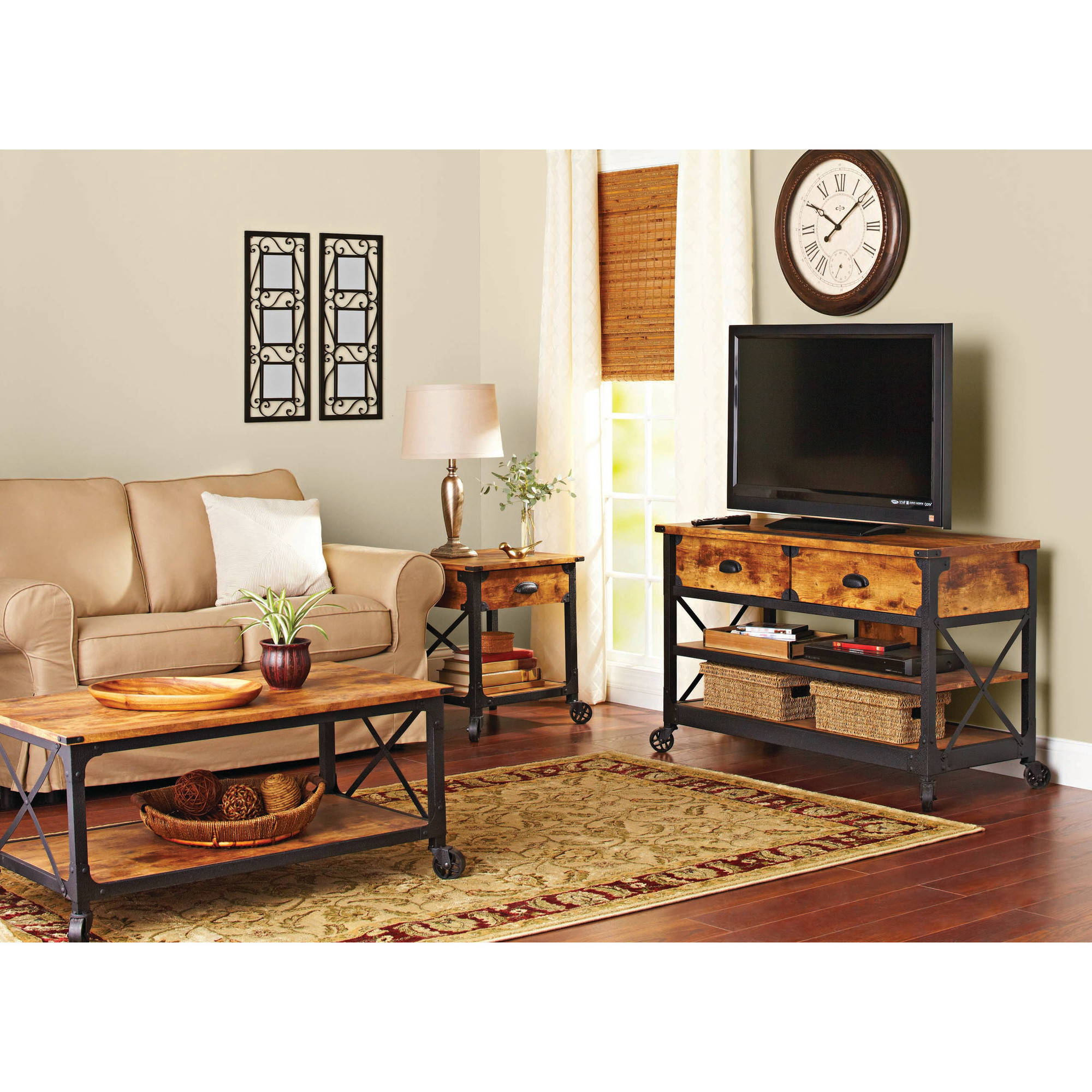 Better Homes And Gardens Rustic Country Living Room Set Walmart intended for Living Room Set With TV
