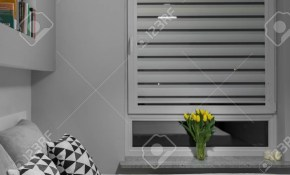 Big Window With White Blinds In Modern Bedroom Stock Photo Picture with Modern Bedroom Blinds