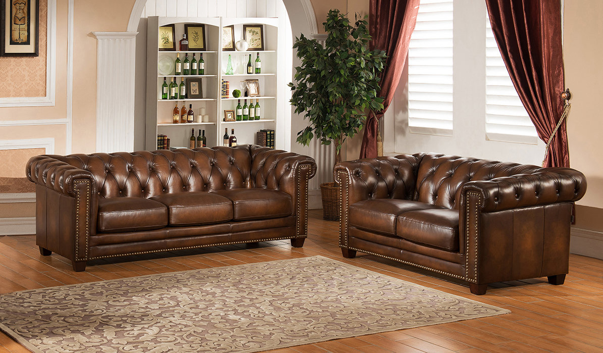Canora Grey Dusty 2 Piece Leather Living Room Set Wayfair in Genuine Leather Living Room Sets