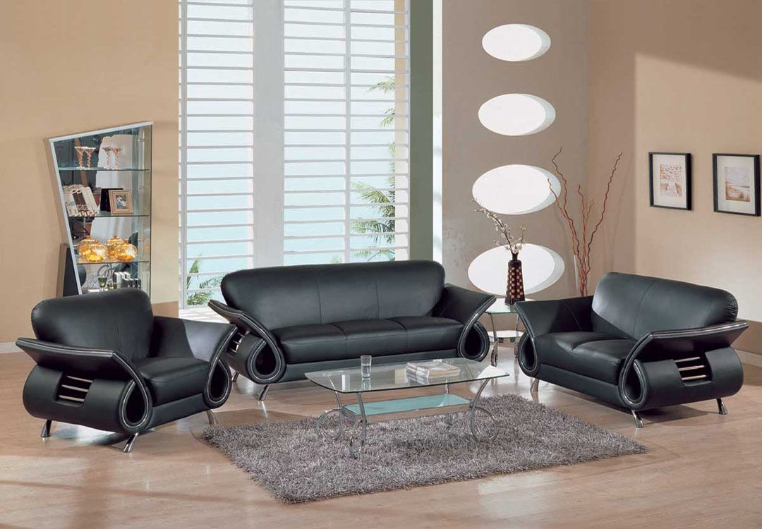 Contemporary Dual Colored Or Black Leather Sofa Set W Chrome intended for 12 Awesome Tricks of How to Make Black Leather Living Room Set