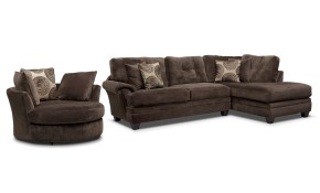 Cordelle 2 Piece Sectional With Chaise And Swivel Chair Set Value inside 2 Piece Living Room Furniture Set