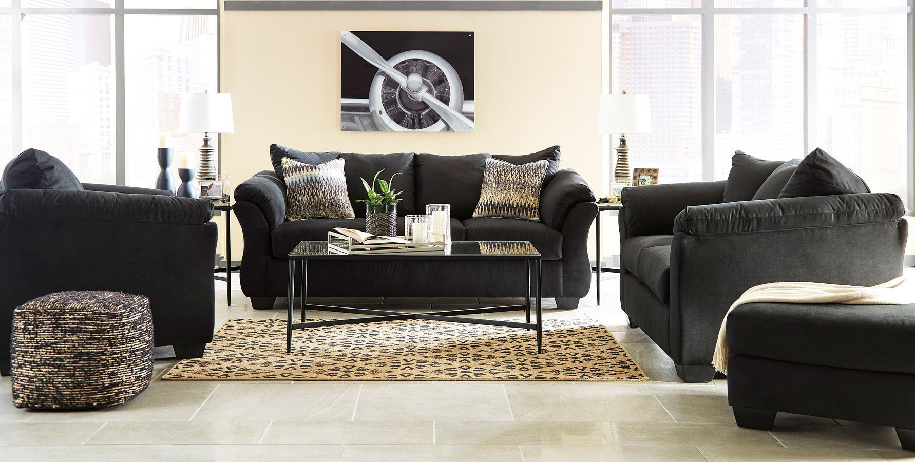 Darcy Black Living Room Set Signature Design Furniture Cart within 14 Awesome Tricks of How to Build Black Living Room Set