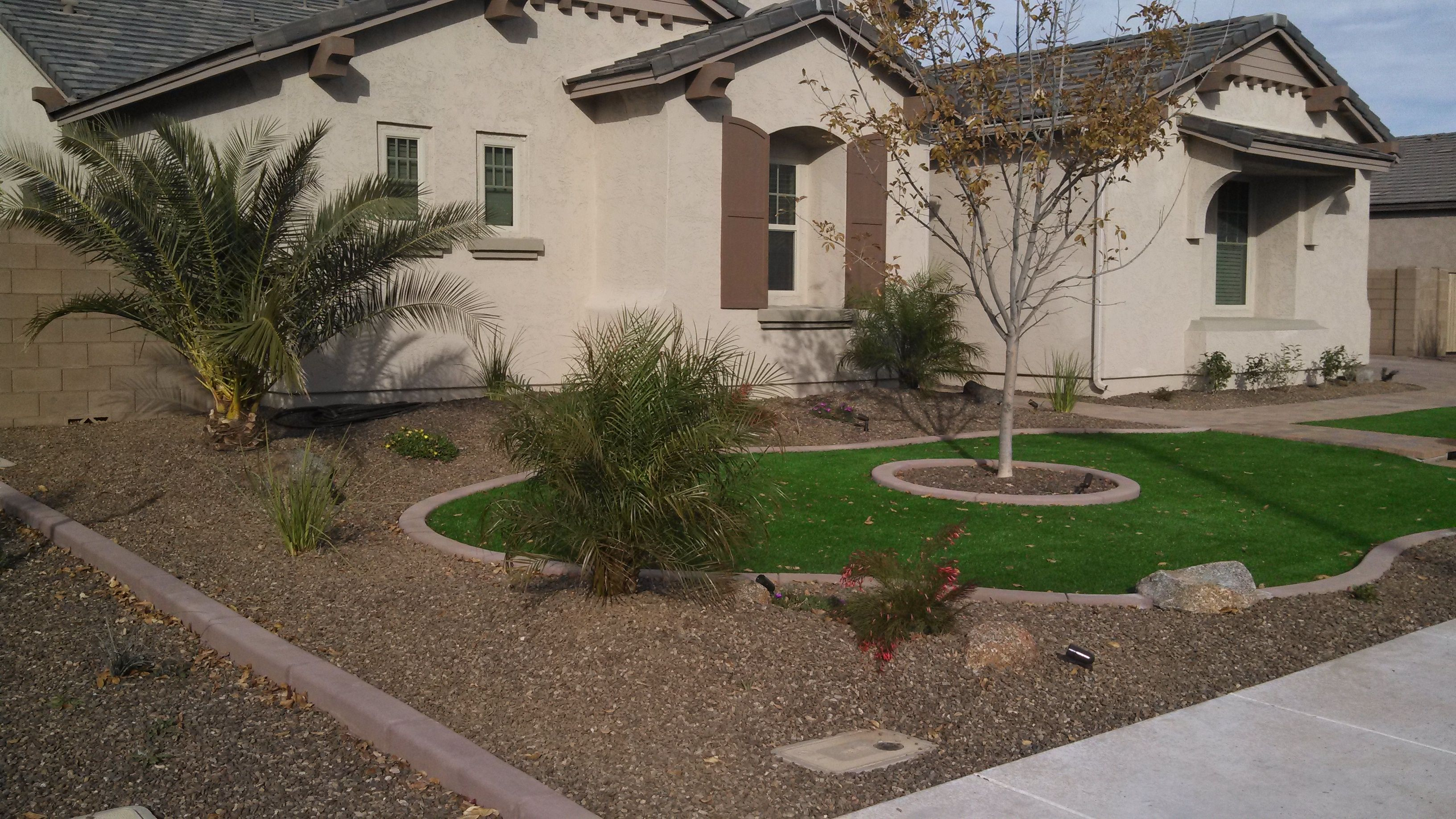 Desert Landscaping Ideas With Pavers And Artificial Turf Synthetic within Front And Backyard Landscaping Ideas