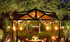 Elegant Well Lit Backyard Dinner Party Pergola Landscape In 2019 intended for 14 Genius Ways How to Upgrade Backyard Lighting Ideas