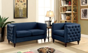 Emer Dark Blue Linen Fabric Loveseat Chair Set W Deep Button throughout 12 Smart Ideas How to Build Chair Set Living Room