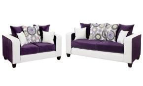 Flash Furniture Riverstone Implosion 2 Piece Purple Velvet Living inside White Living Room Sets
