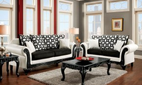 Furniture Of America Dolphy Black And White Leatherette Living Room in Black And White Living Room Sets