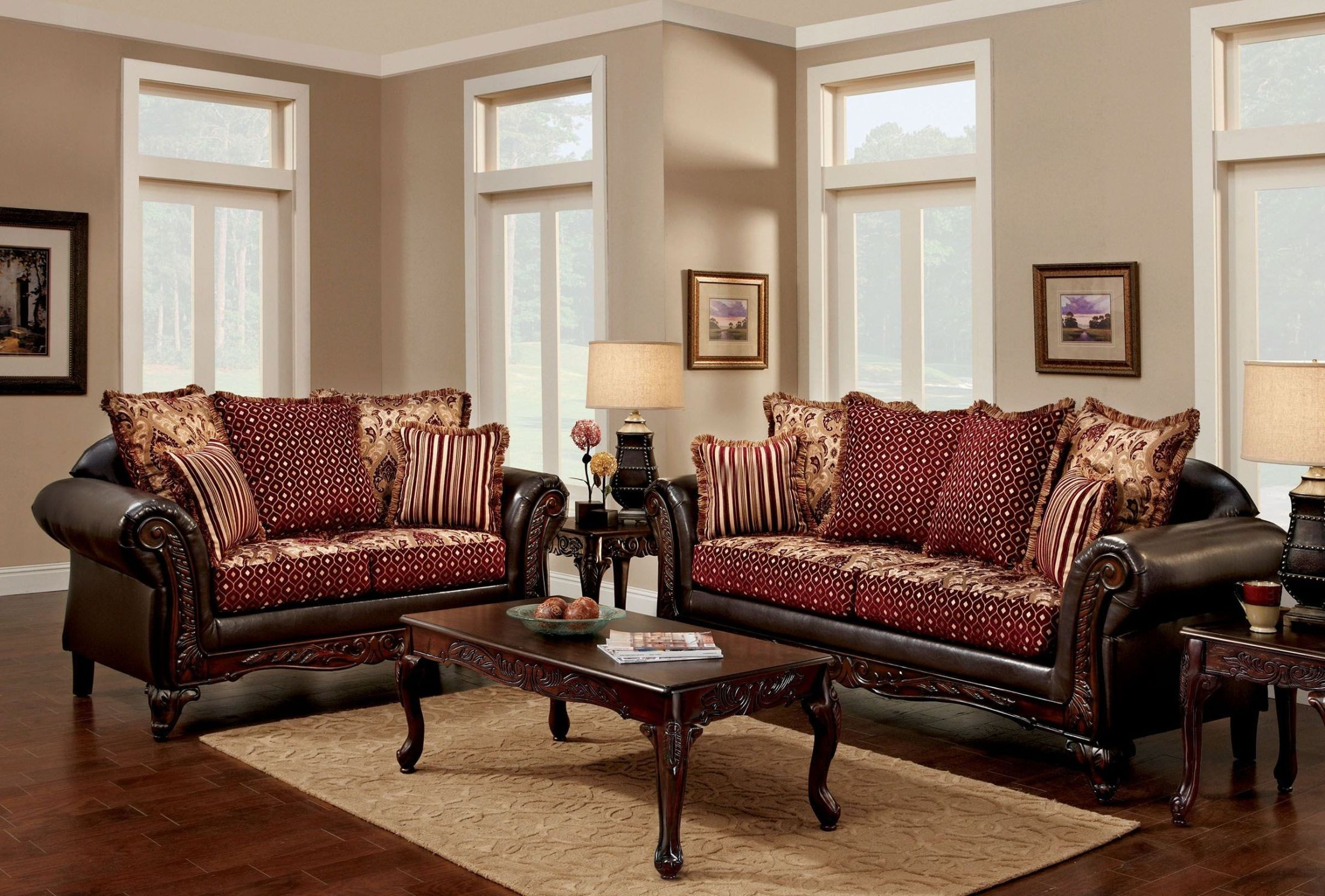 Furniture Of America Ellis Brown And Burgundy Living Room Set pertaining to Living Rooms Sets