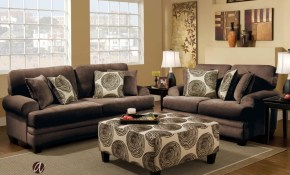 Garfield Chocolate Sofa Love Seat Group Living Room Groups intended for Chocolate Living Room Set