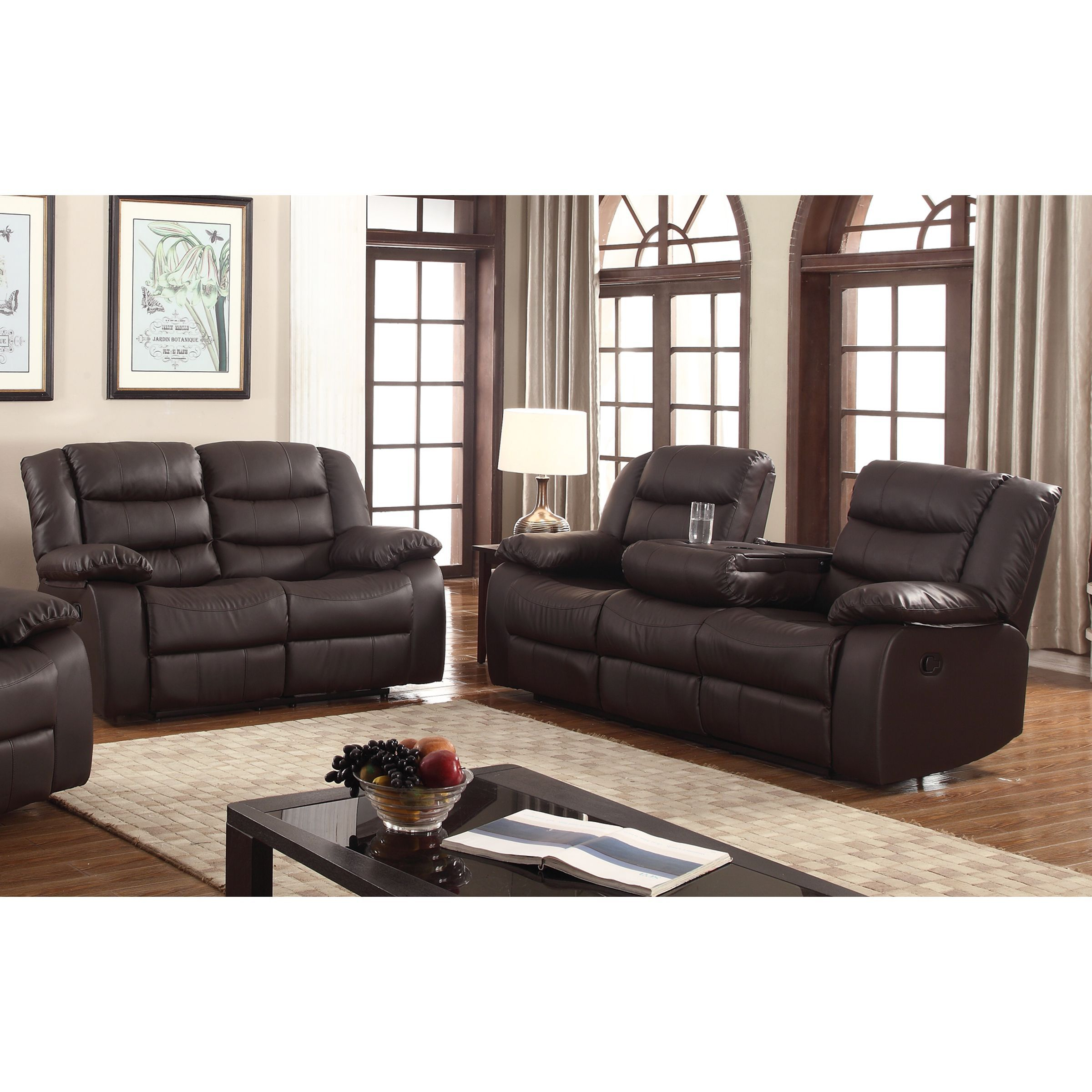 Gloria Faux Leather 2 Piece Reclining Living Room Set Dark Brown with Faux Leather Living Room Set