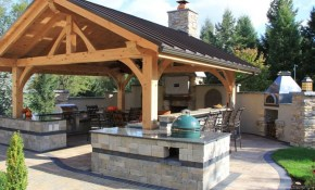 Green Outdoor Covered Kitchen Best Backyard Ideas Designs Diy Plans throughout Backyard Structure Ideas