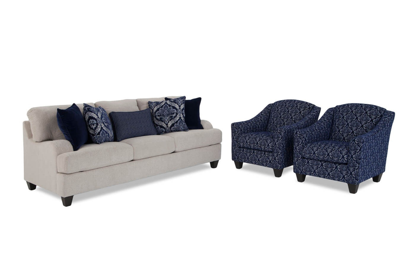 Hamptons Sofa And Accent Chair Set Bobs Discount Furniture intended for Chair Set Living Room
