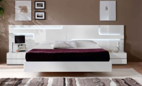 Lacquered Made In Spain Wood Platform And Headboard Bed With Extra in 12 Smart Concepts of How to Makeover Modern Bedroom Set