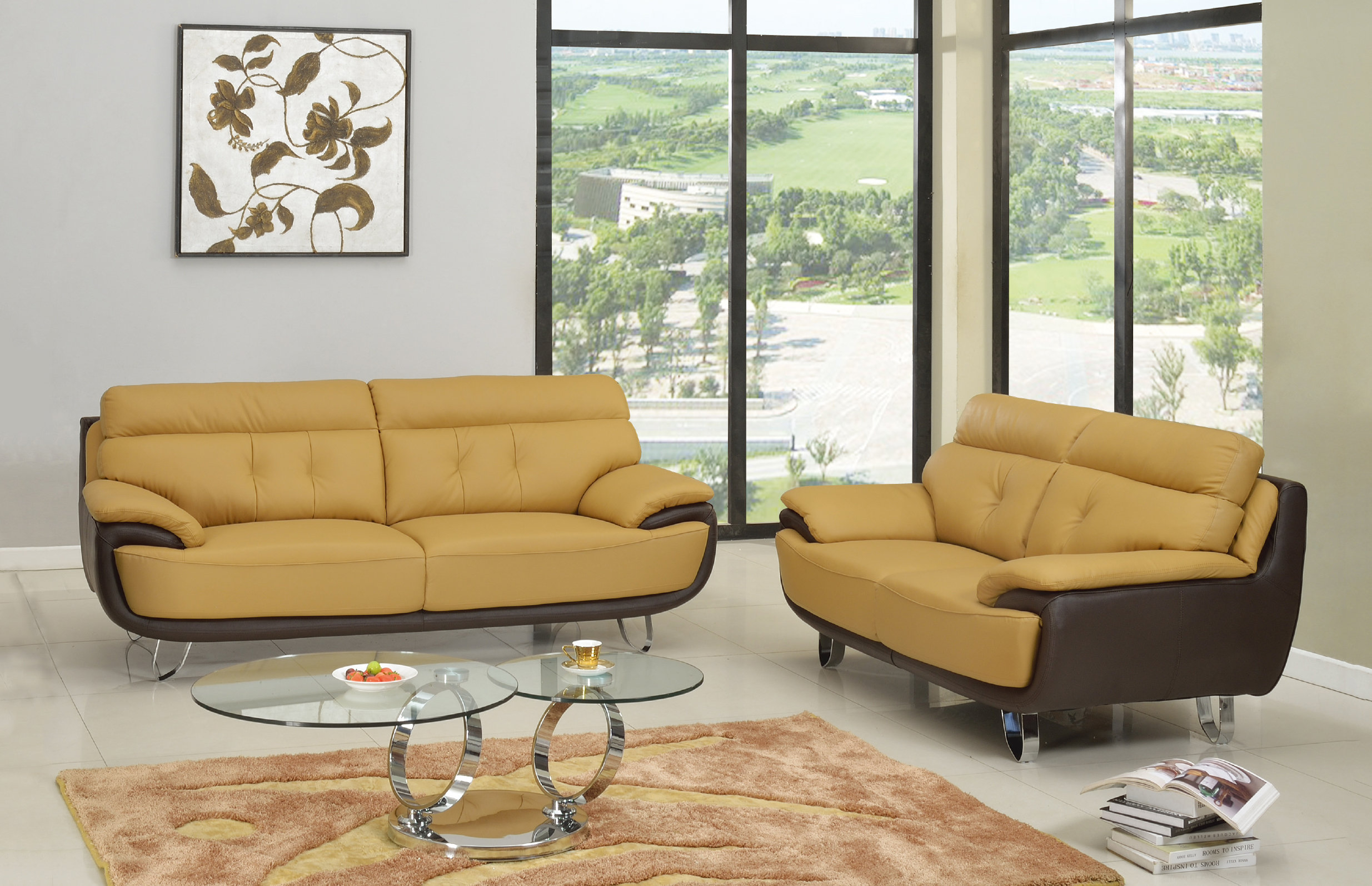 Latitude Run Boden Leather 2 Piece Living Room Set Wayfair with Luxurious Living Room Sets