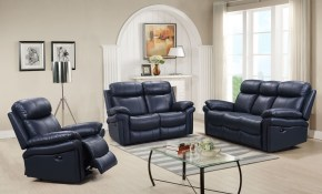 Leather Italia Usa Shae Joplin Blue Leather Power Reclining Living pertaining to 3 Piece Leather Reclining Living Room Set