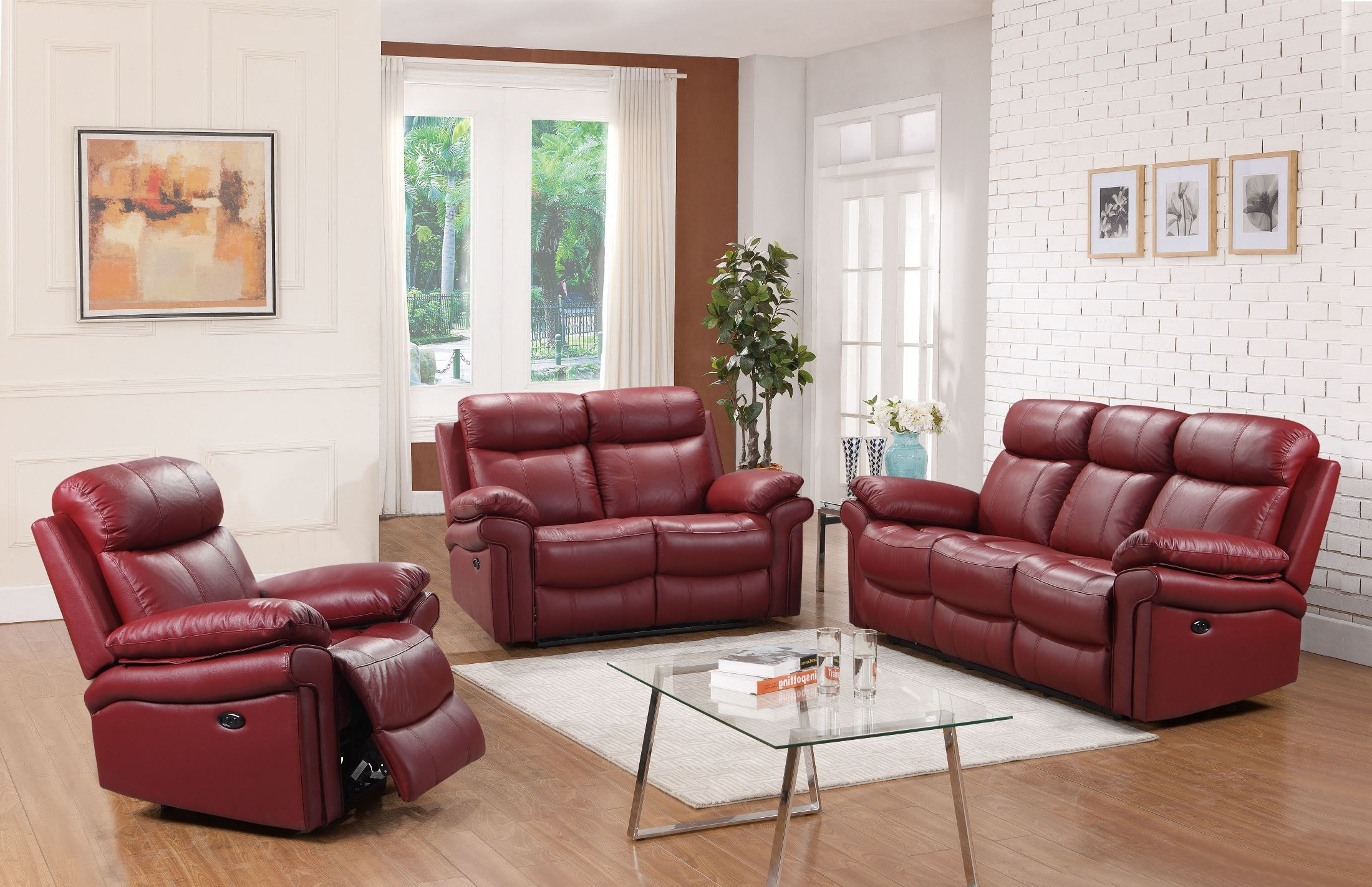 Leather Italia Usa Shae Joplin Red Leather Power Reclining Living throughout Red Leather Living Room Set