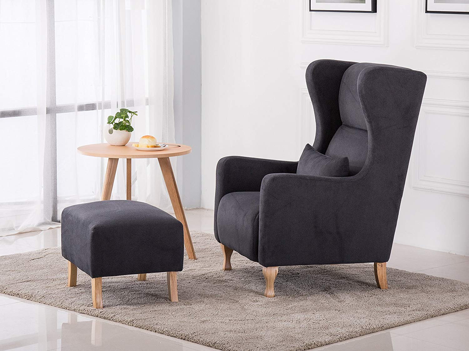 Mcombo Elegant Upholstered Wingback Fabric Suede Accent Chair W regarding Chair Set Living Room