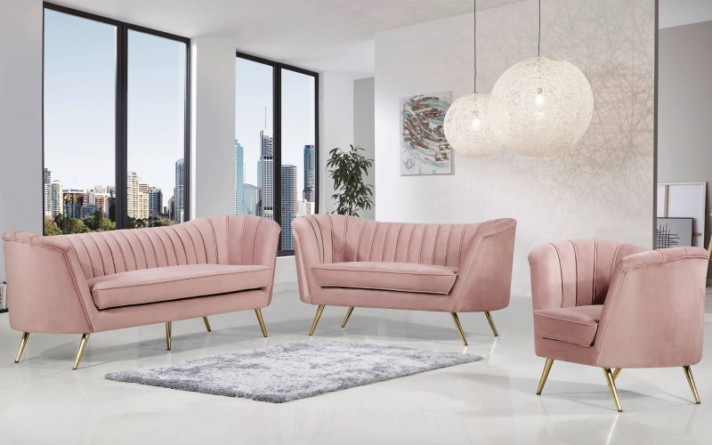 Meridian Furniture Margo Pink 3pc Living Room Set The Classy Home pertaining to Pink Living Room Set