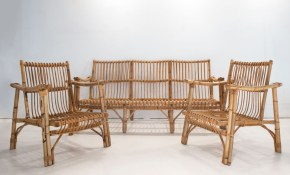Mid Century Rattan Living Room Set For Sale At Pamono for Rattan Living Room Set