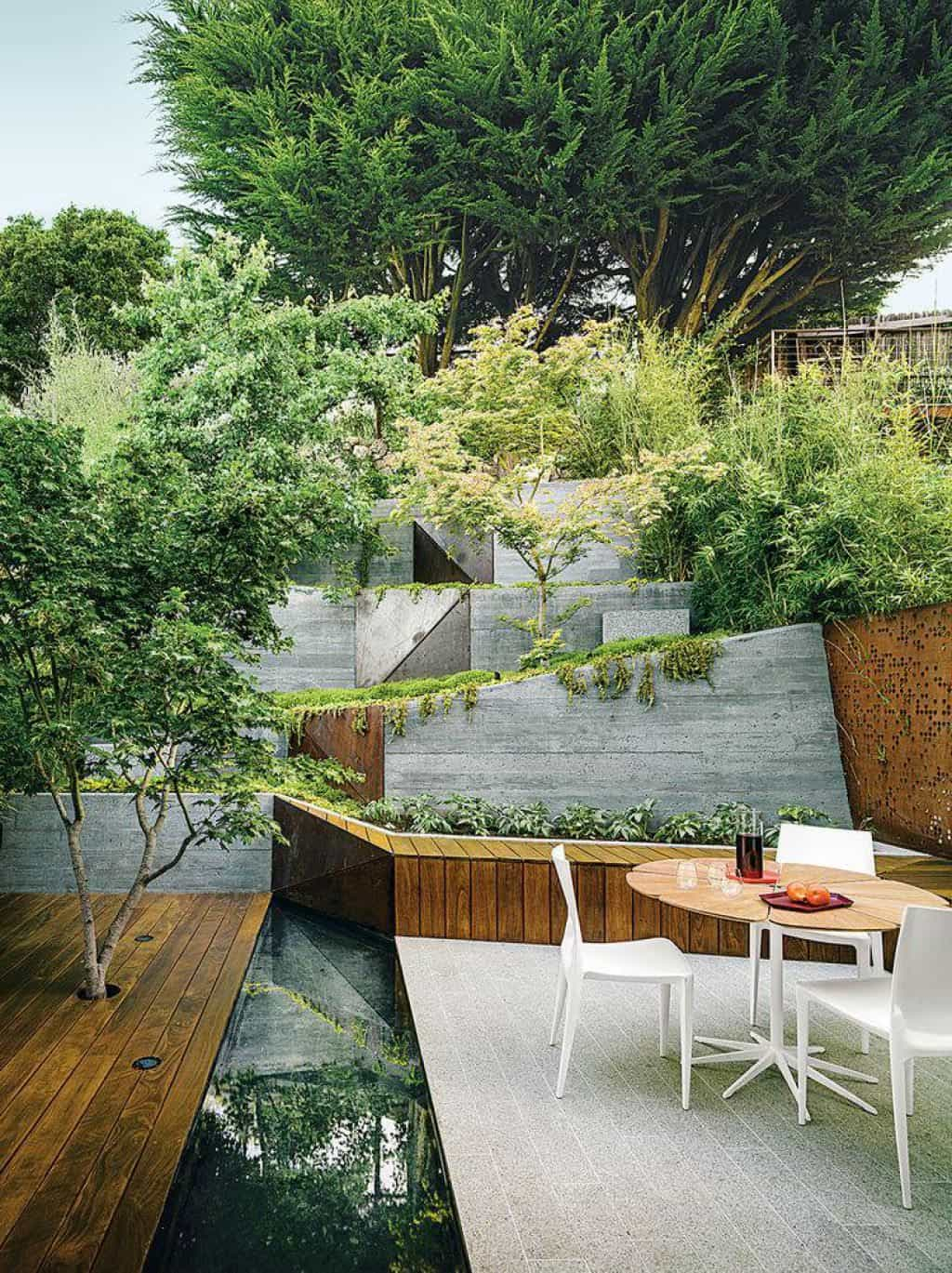 Modern Backyard With Hillside Landscaping Outdoor Hillside in Modern Backyard Landscaping