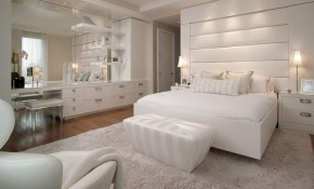 Modern Cozy White Bedroom Design With White Fur Rug And Large Wall in 15 Some of the Coolest Concepts of How to Makeover Modern White Bedroom Ideas