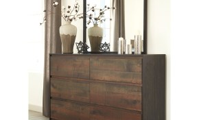 Modern Rustic Dresser Bedroom Mirror Signature Design Ashley within Modern Mirrors For Bedroom
