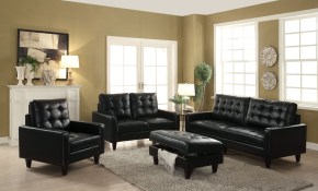 Nate Black Sofa 50265 Acme Corporation Leather Sofas Comfyco pertaining to Discount Living Room Sets