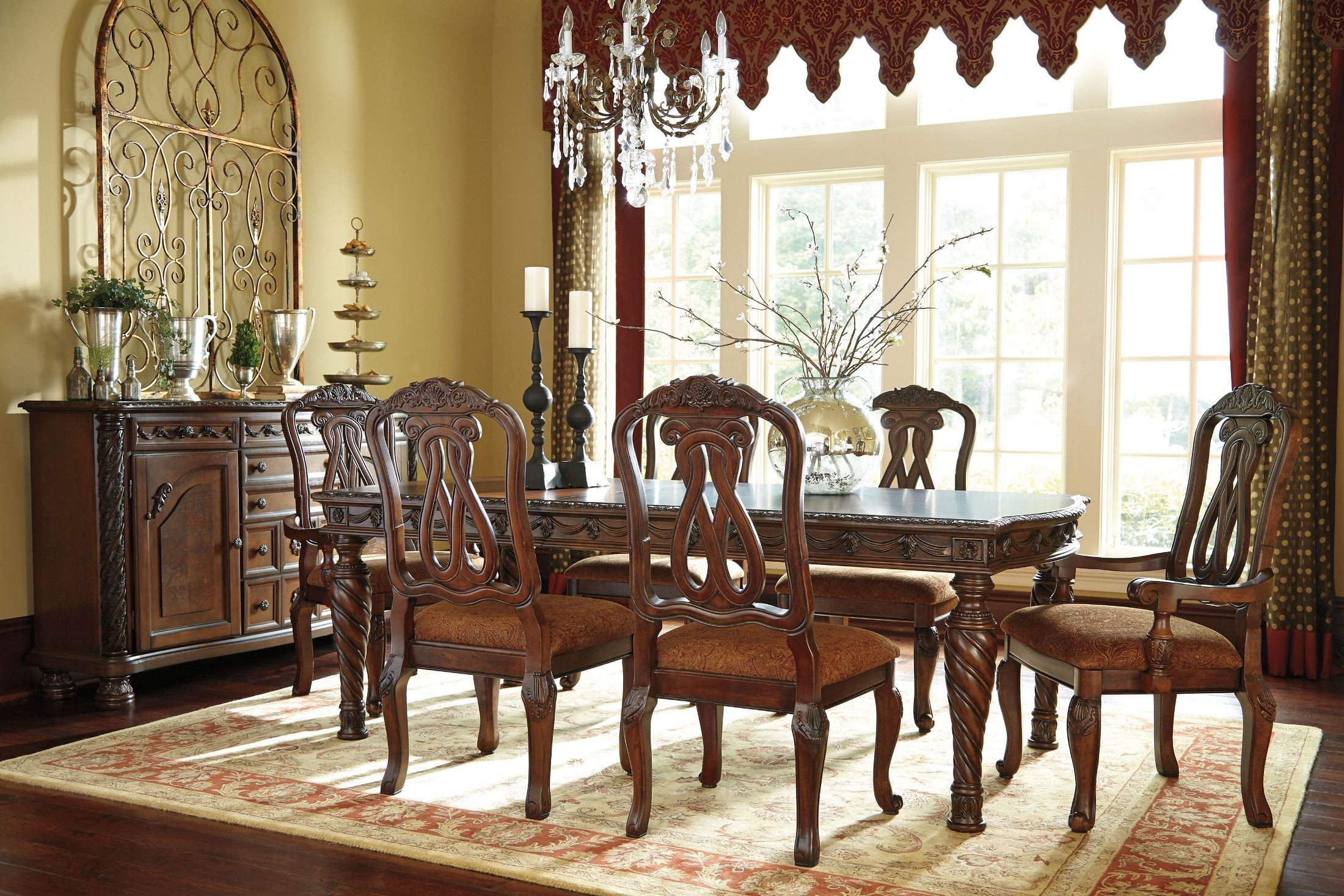 North Shore Rectangular Extendable Dining Room Set From Ashley D553 pertaining to Discount Living Room Sets