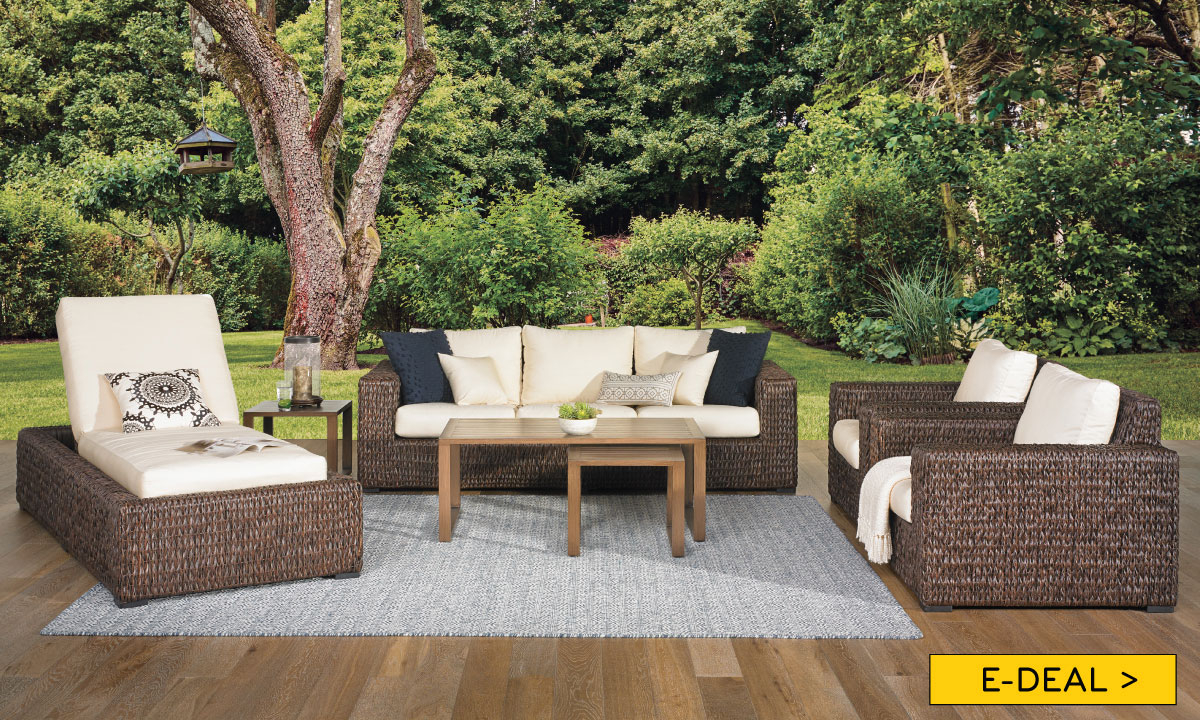 Odeon All Weather Banana Weave 6 Piece Outdoor Living Room inside Outdoor Living Room Sets