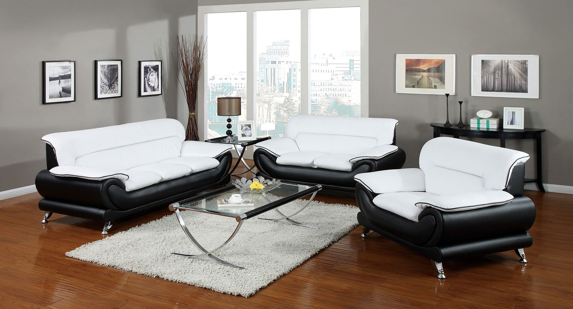 Orel Living Room Set Black And White Acme Furniture Furniturepick with White And Black Living Room Set