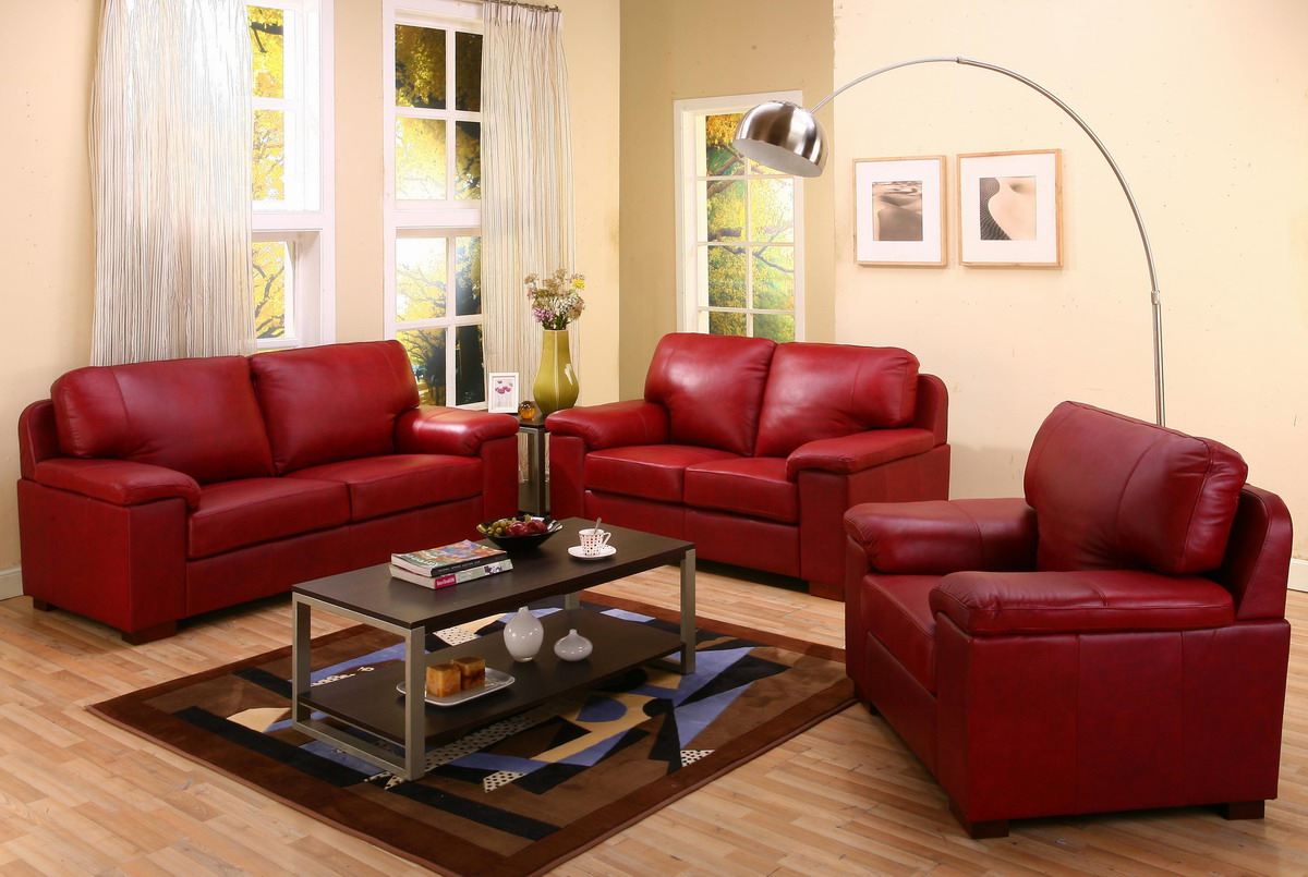 Red And Black Leather Living Room Furniture Living Room Ideas pertaining to Red Leather Living Room Set