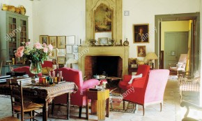Red Armchairs Set Around Fireplace With Pictorial Overmantel In regarding 15 Genius Designs of How to Improve French Country Living Room Sets
