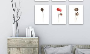 Red Poppy Canvas Painting Set 6 Floral Living Room Red Brown Etsy inside 11 Smart Initiatives of How to Upgrade Floral Living Room Sets