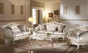 Rose Gold And Pearl White Living Room Set 2 Pcs Acme Furniture 53540 inside 13 Some of the Coolest Ways How to Make White Living Room Sets