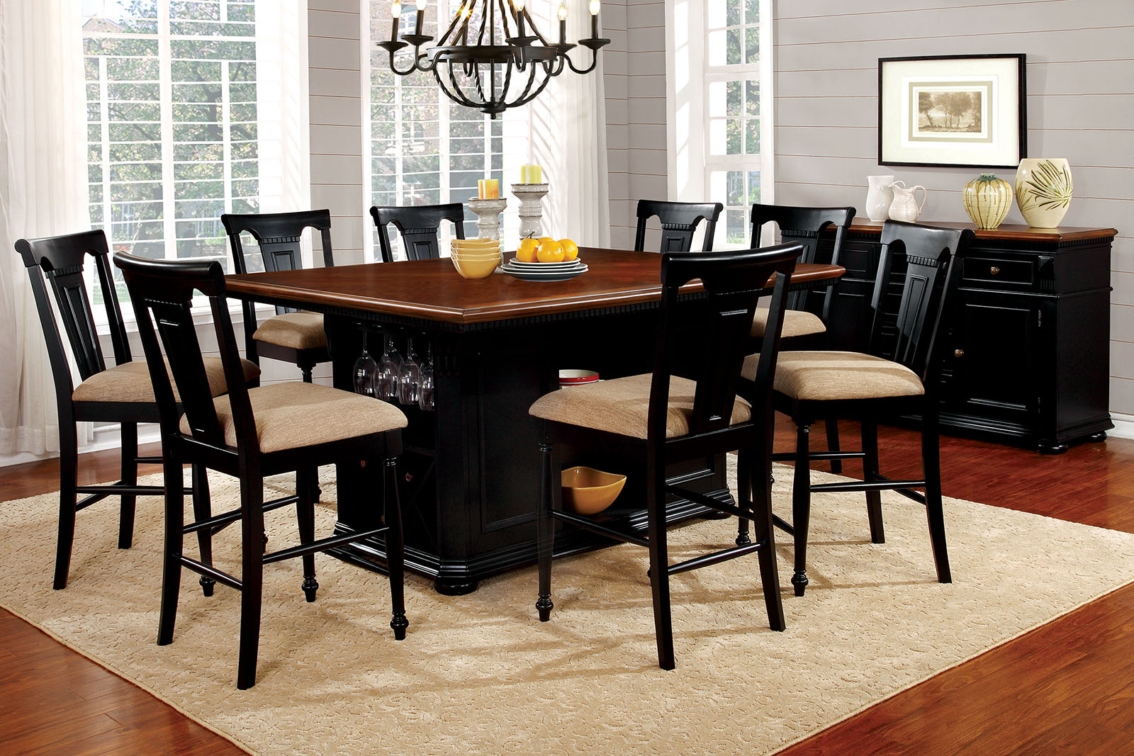 Sabrina Country Style 9pc Cherry Black Finish Counter Height pertaining to Country Style Living Room Sets