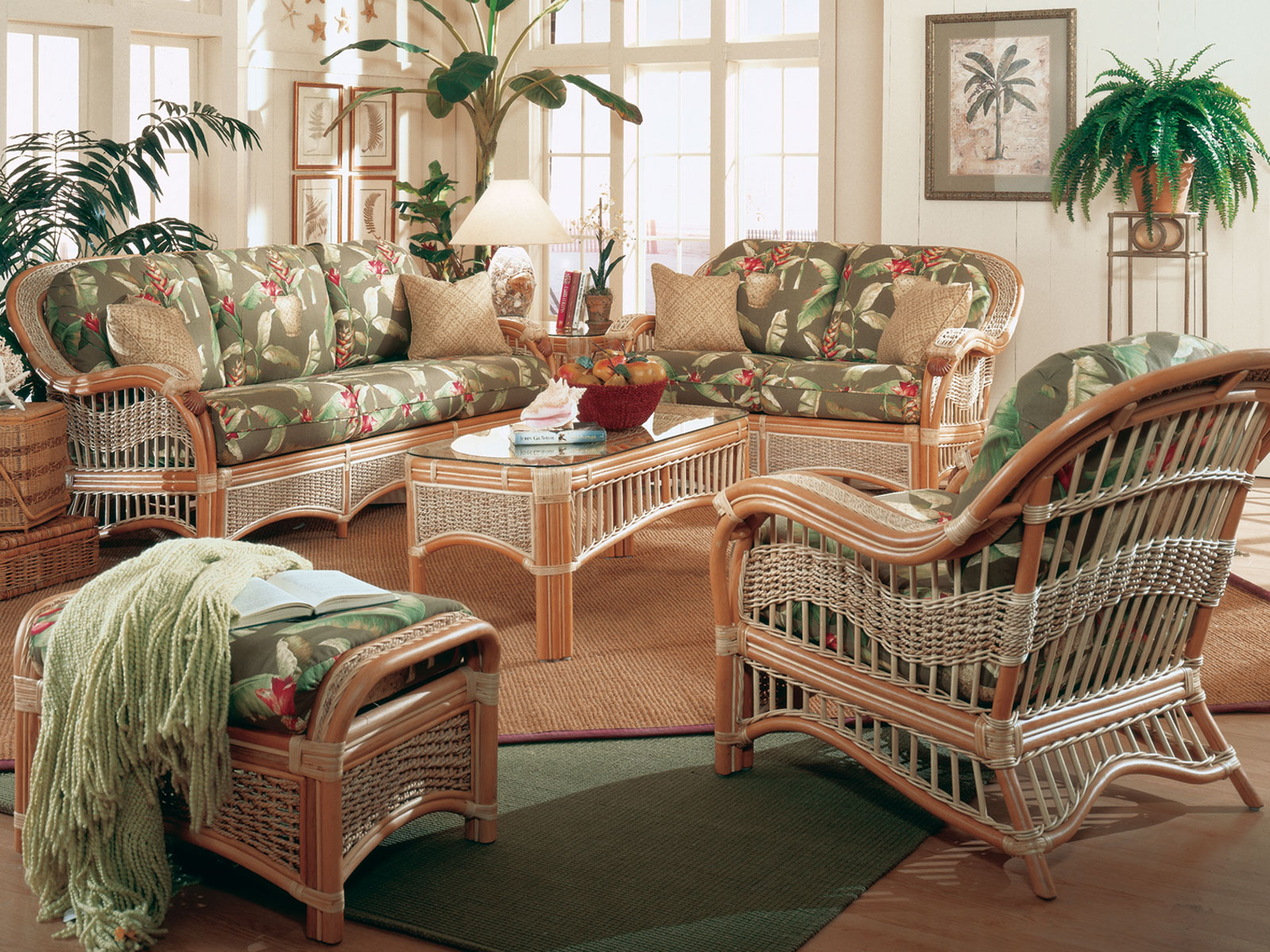 Seascape Rattan 5 Piece Sunroom Set Model Ss Set From Spice Island pertaining to Rattan Living Room Set