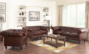 Shop Abson Grand Chesterfield Brown Top Grain Leather 3 Piece with regard to 13 Genius Designs of How to Craft Chesterfield Living Room Set