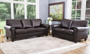 Shop Abson London Top Grain Leather 2 Piece Living Room Set Free within 10 Awesome Ideas How to Improve Living Room Set For Cheap