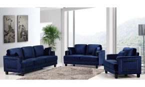 Shop Ferrara Navy Velvet Nailhead Living Room Set Free Shipping with regard to 14 Awesome Designs of How to Craft Futon Living Room Sets