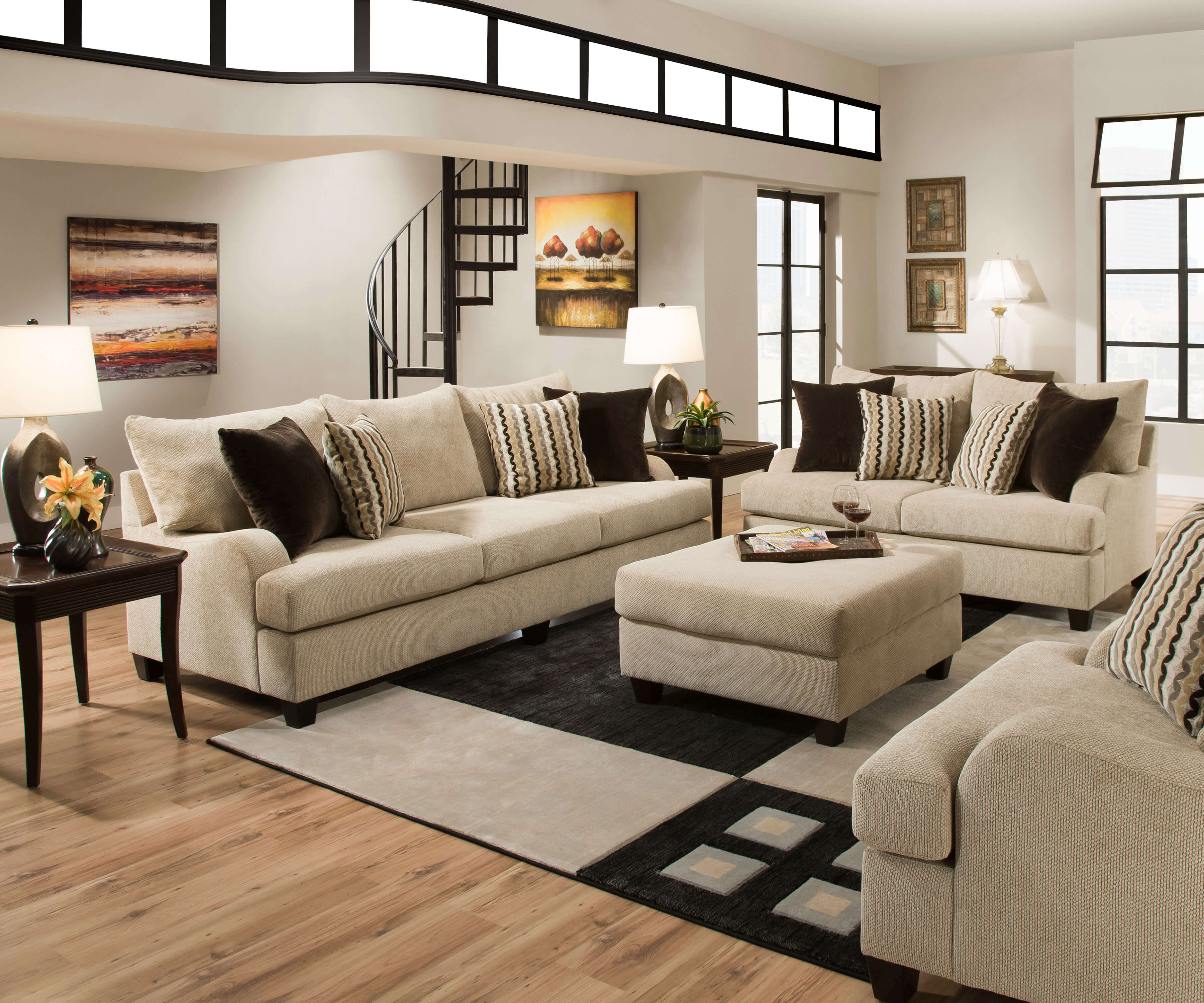 Simmons Trinidad Taupe Living Room Set Fabric Living Room Sets intended for 12 Clever Initiatives of How to Craft Nice Living Room Set