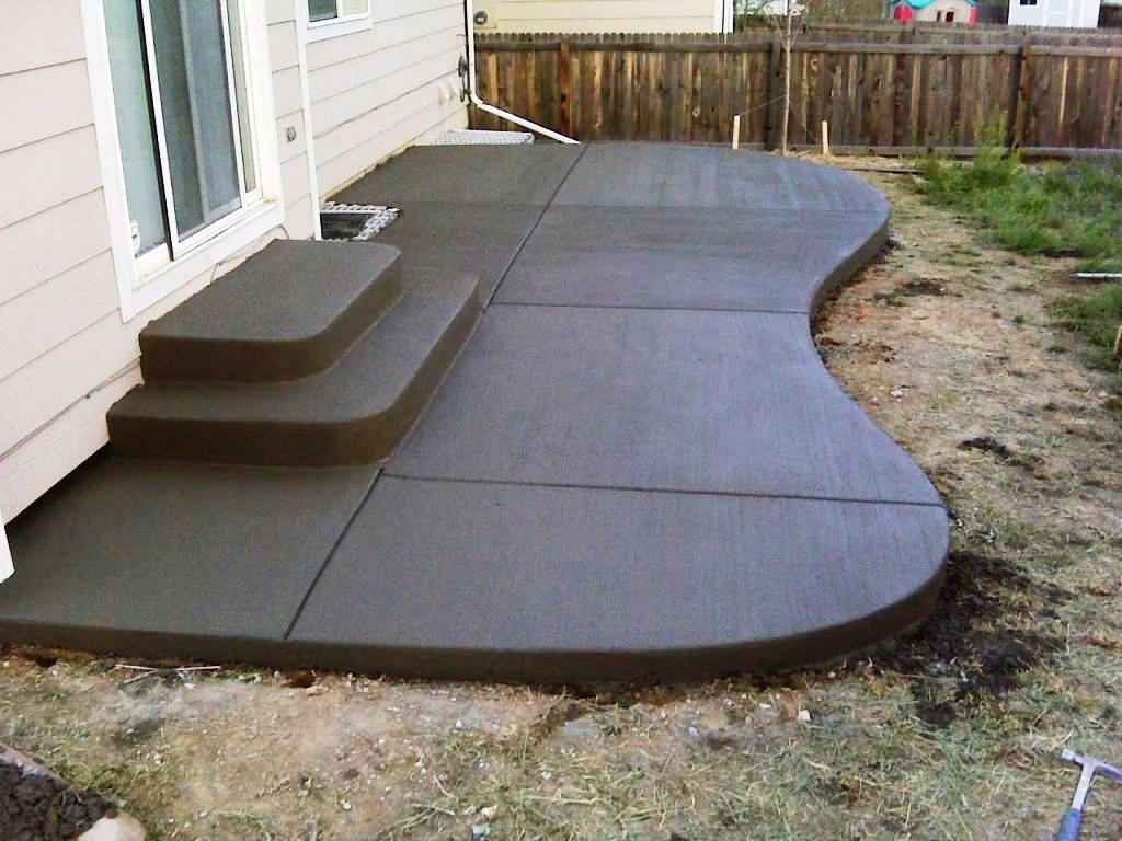 Small Concrete Patio Small Kitchen And Dining Room Concrete Paver inside Backyard Cement Ideas