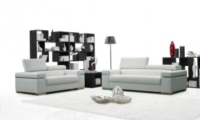 Soho 2 Piece Living Room Set White Leather Jm Furniture with Black And White Living Room Sets