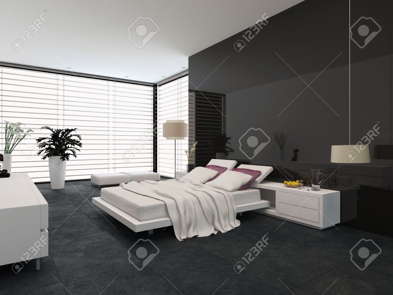 Spacious Modern Bedroom With An Adjustable Double Bed Large Stock in 11 Smart Initiatives of How to Improve Modern Bedroom Blinds