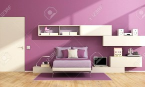 Teenage Girl Room With Wall Unit On Purple Wall And Modern Bed inside Modern Bedrooms For Teens