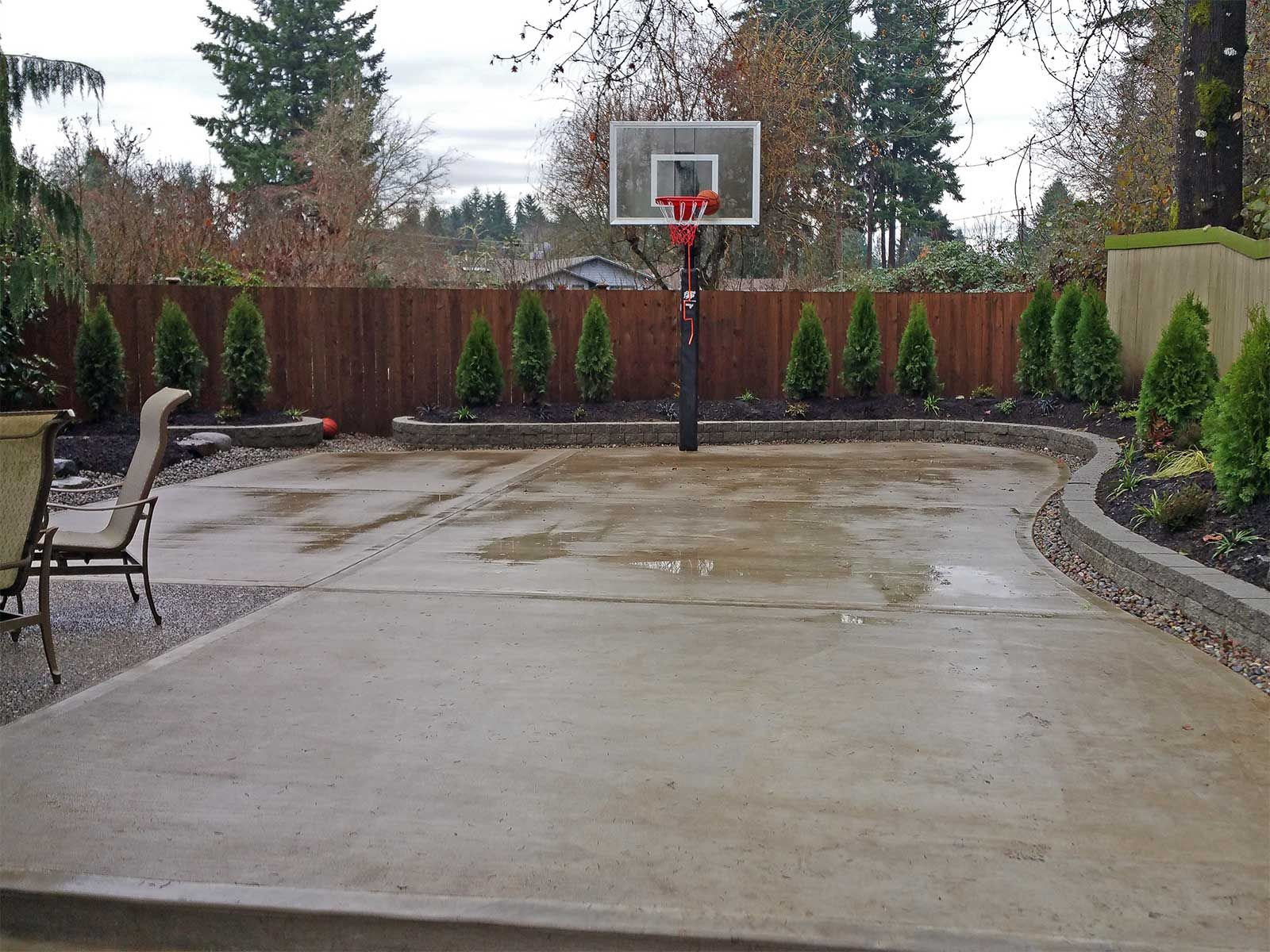 The Concrete Slab Basketball Court Is Great Exercise For The Whole with Backyard Cement Ideas