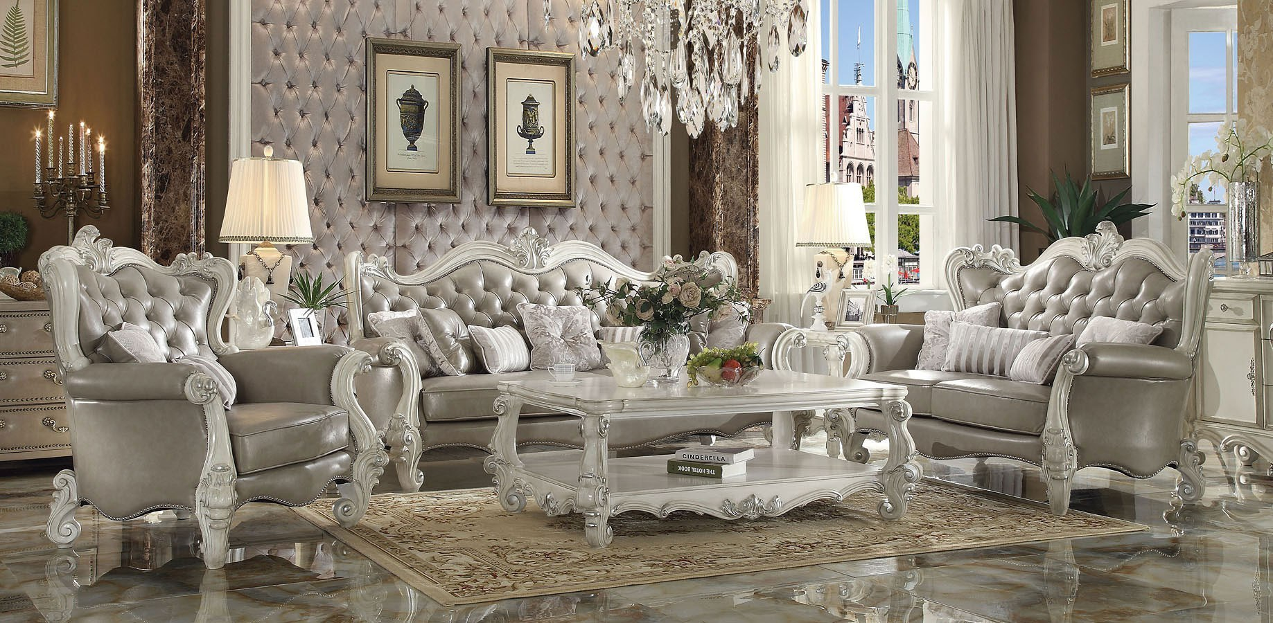 Versailles Living Room Set Vintage Gray Pu Acme Furniture throughout 10 Clever Ways How to Improve Vintage Living Room Sets