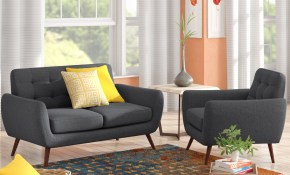 Zipcode Design Diara 2 Piece Living Room Set Reviews Wayfair for Yellow Living Room Set
