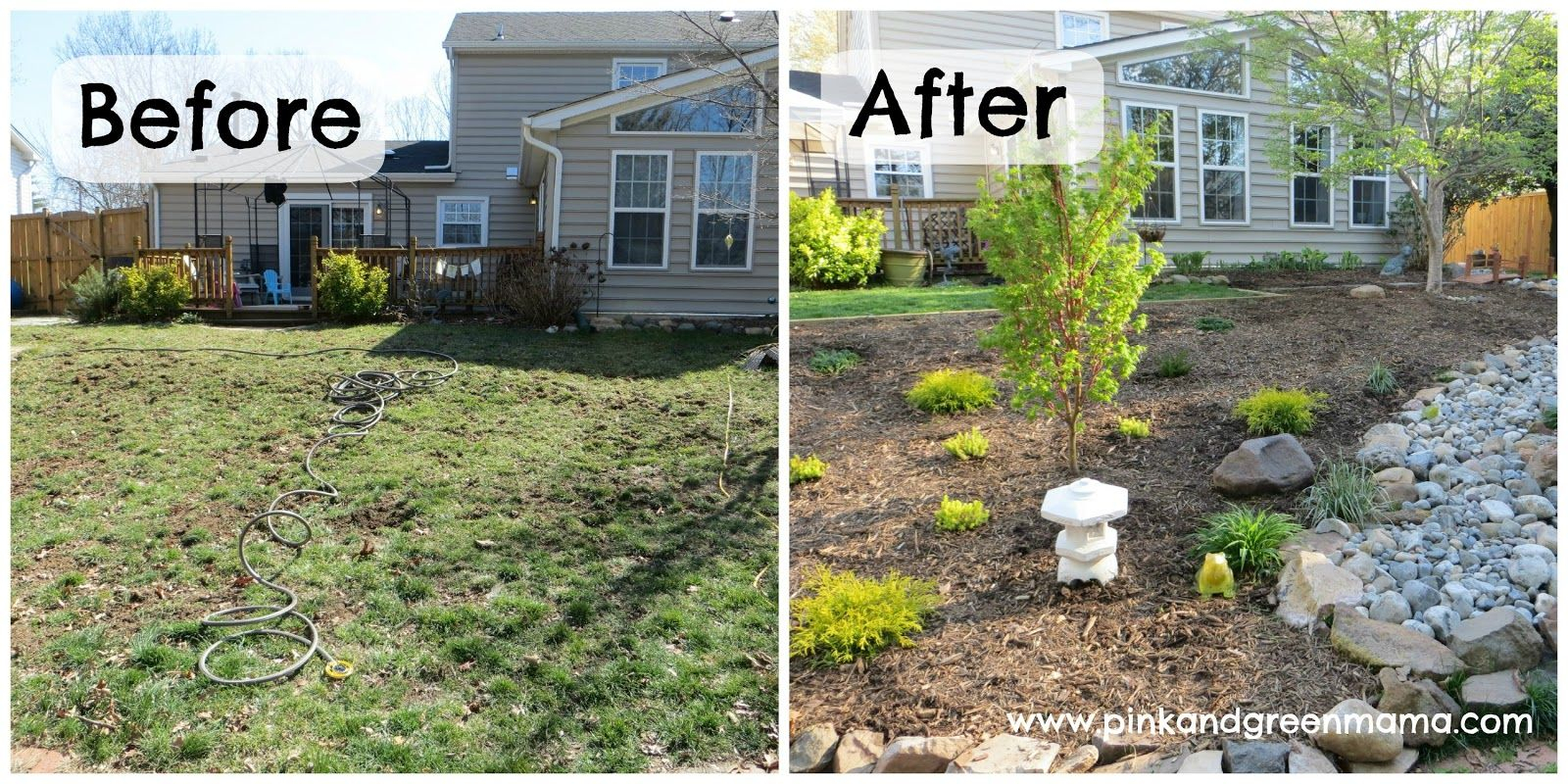 Before And After Diy Backyard Makeover On A Budget From Pink And regarding Backyard Makeover Ideas