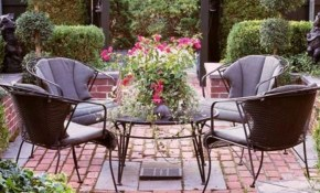 Note I Like The Mix Of Brick And Cement Mjm Garden Garden Brick inside Paved Backyard Ideas